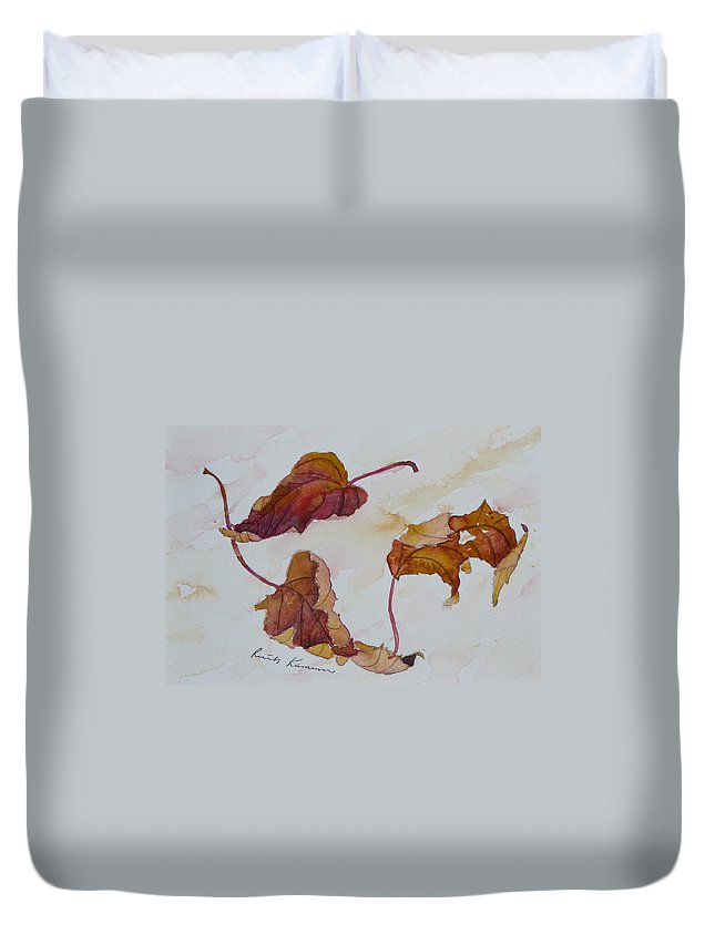 Fall Duvet Cover featuring the painting Floating by Ruth Kamenev
