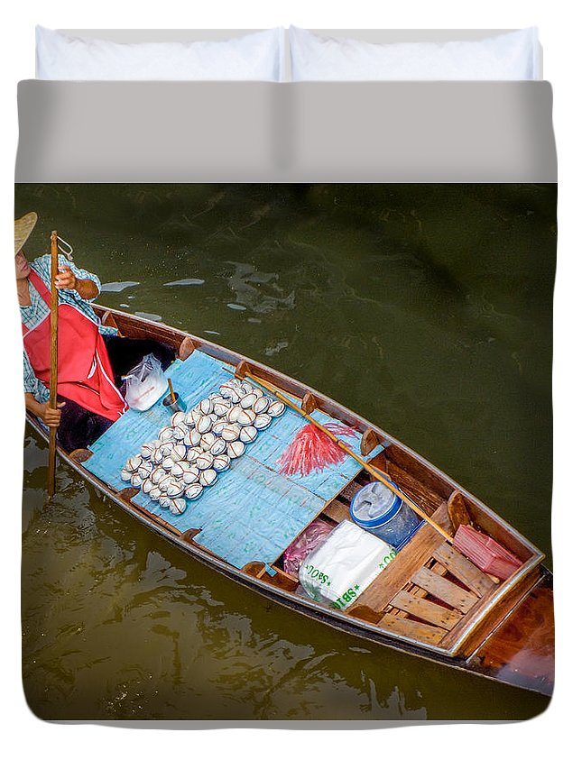Thai Woman Duvet Cover featuring the photograph Floating To Work by Douglas J Fisher