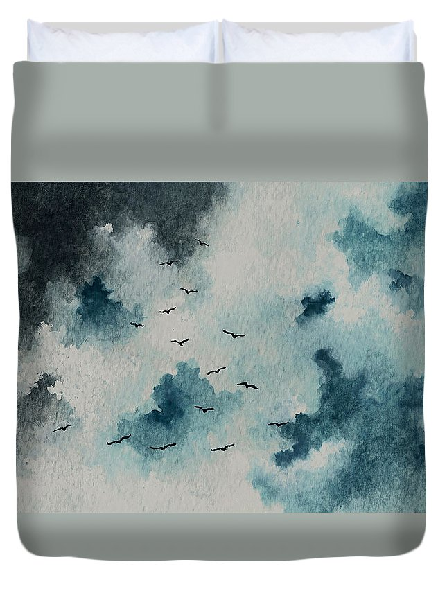Birds Duvet Cover featuring the painting Flock Of Birds Against A Dark Sky by Michael Vigliotti
