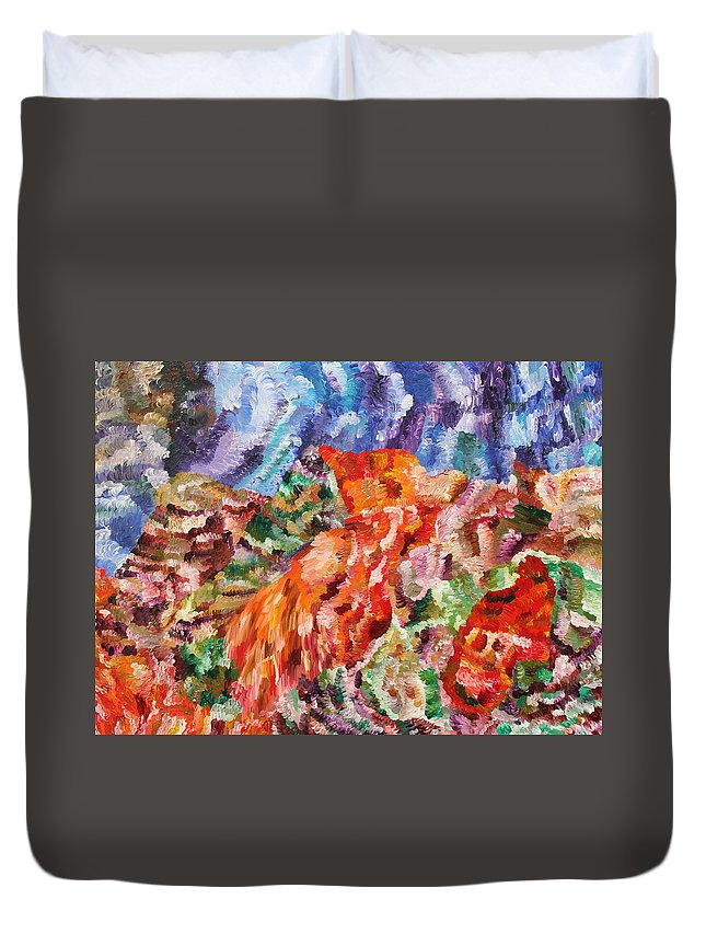 Fusionart Duvet Cover featuring the painting Flock by Ralph White
