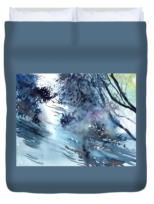 Floods Duvet Cover featuring the painting Flooding by Anil Nene