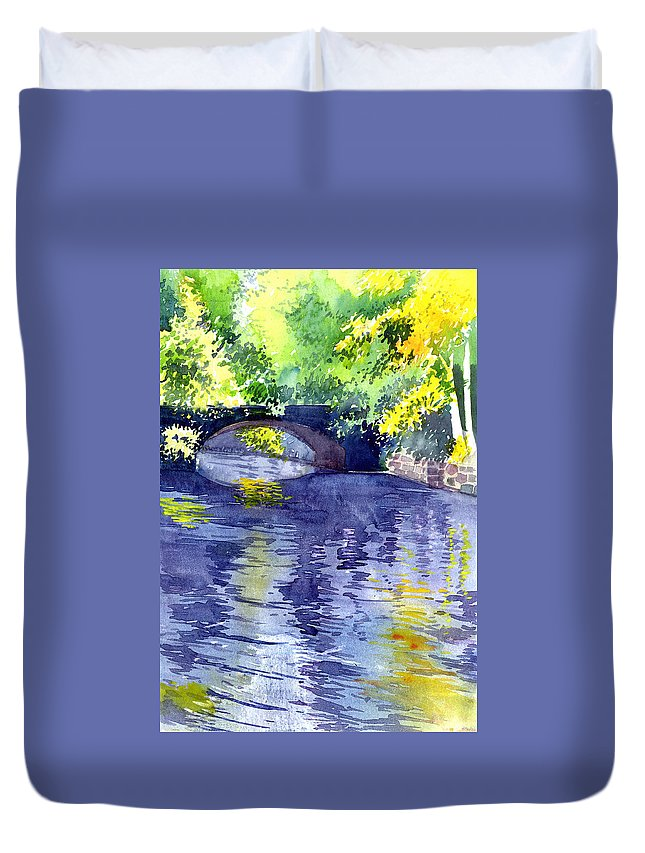Nature Duvet Cover featuring the painting Floods by Anil Nene