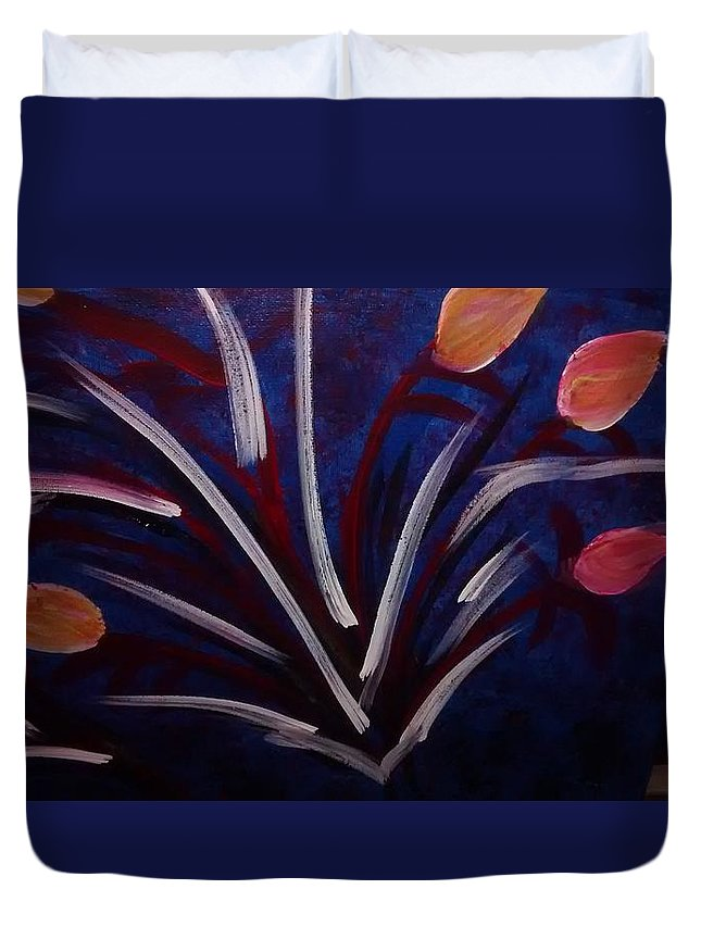 Floral Duvet Cover featuring the painting Floral Abstract by Noka Stoeckley