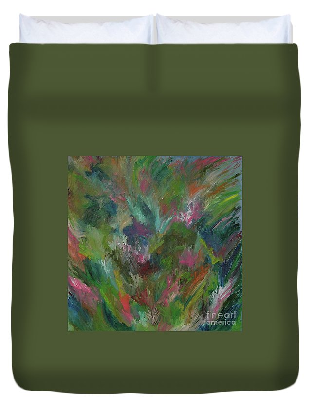 Floral Duvet Cover featuring the painting Floral Abstraction by Cori Solomon