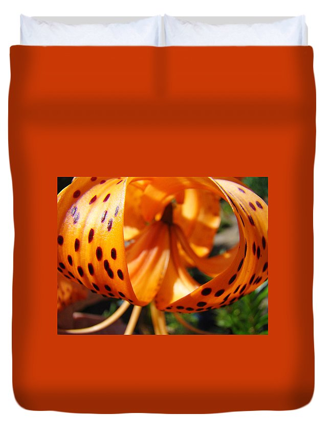 Lilies Duvet Cover featuring the photograph Floral Abstracts Art Prints Summer Tiger Lily Baslee Troutman by Baslee Troutman