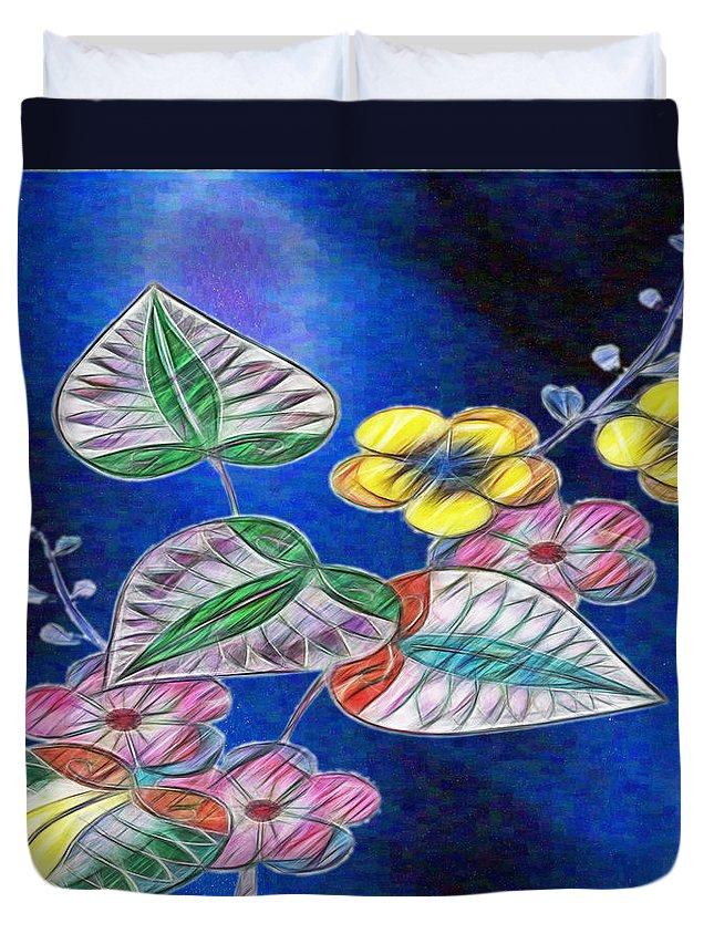 Digital Art And Illustration Duvet Cover featuring the digital art Floral Art Illustrated by Mario Carini
