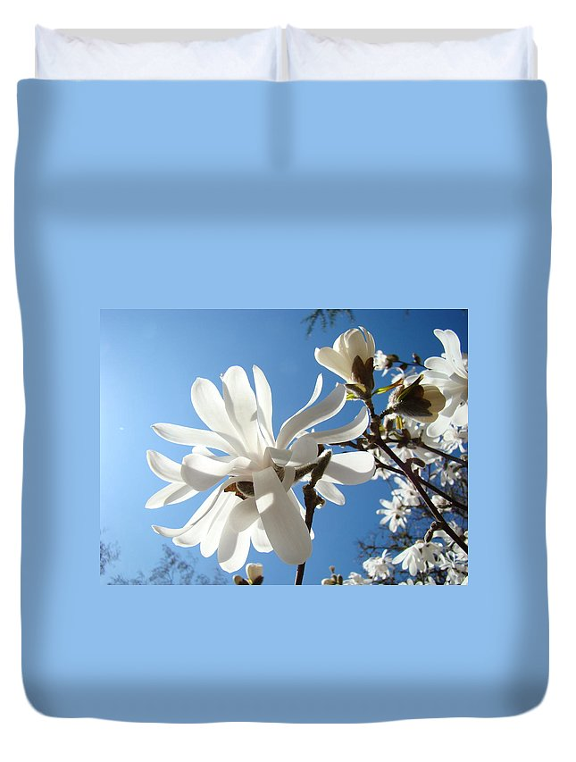 Duvet Cover featuring the photograph Floral Art Print Landscape Magnolia Tree Flowers White Baslee Troutman by Baslee Troutman