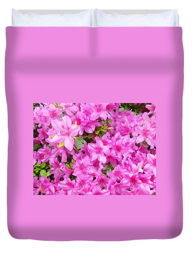 Azalea Duvet Cover featuring the photograph Floral Art Prints Pink Azalea Garden Landscape Baslee Troutman by Baslee Troutman