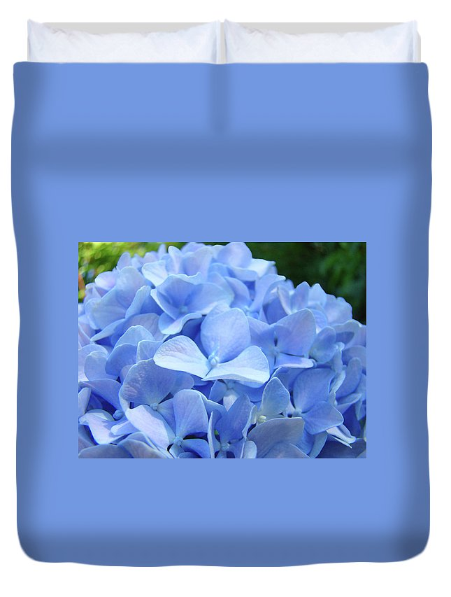 Hydrangea Duvet Cover featuring the photograph Floral Artwork Blue Hydrangea Flowers Baslee Troutman by Baslee Troutman
