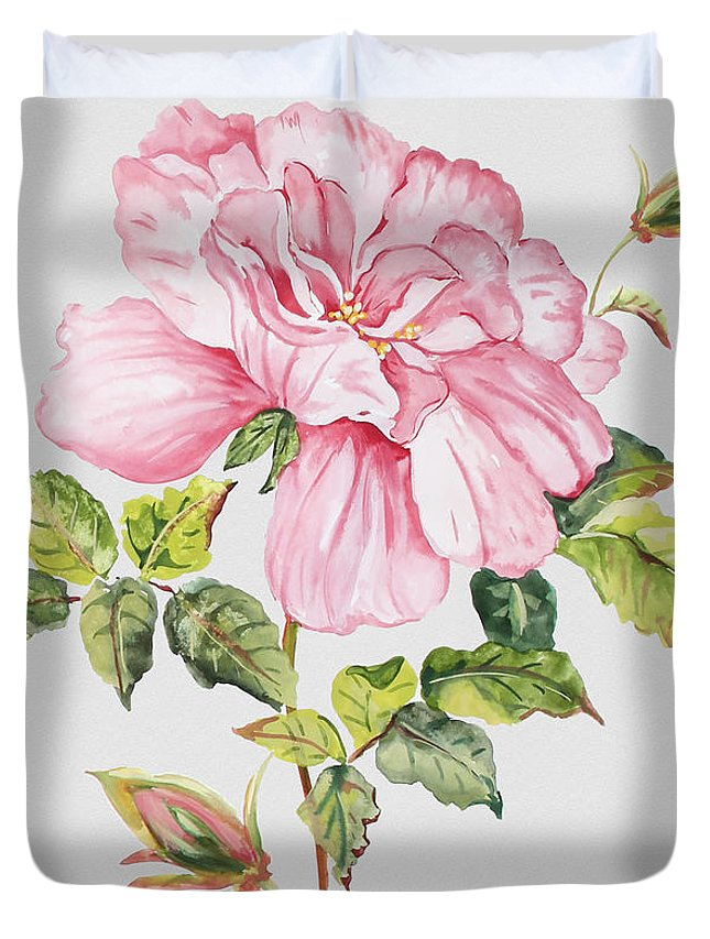 Watercolor Painting Duvet Cover featuring the painting Floral Botanicals-jp3779 by Jean Plout