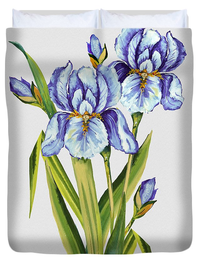 Watercolor Painting Duvet Cover featuring the painting Floral Botanicals-jp3786 by Jean Plout
