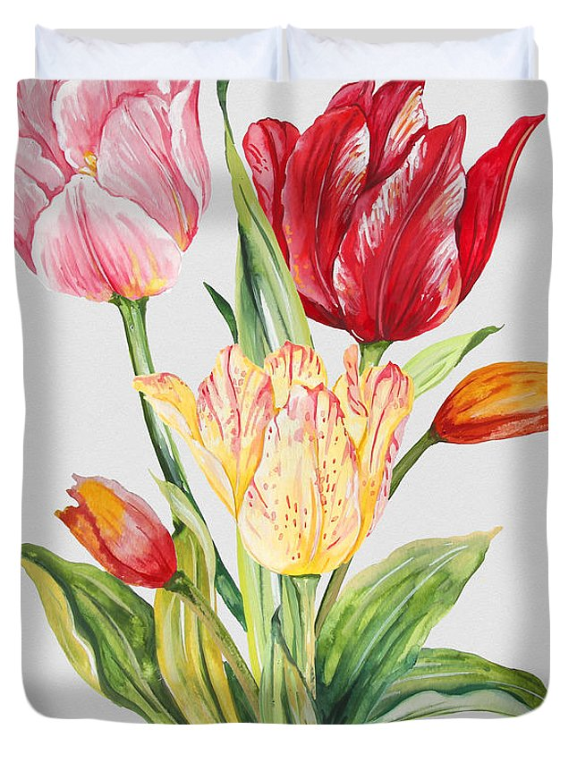 Watercolor Painting Duvet Cover featuring the painting Floral Botanicals-jp3788 by Jean Plout