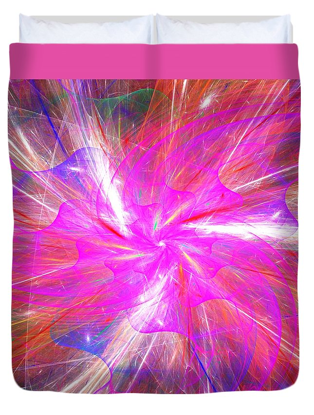 Fine Art Duvet Cover featuring the digital art Floral Explosion by David Lane