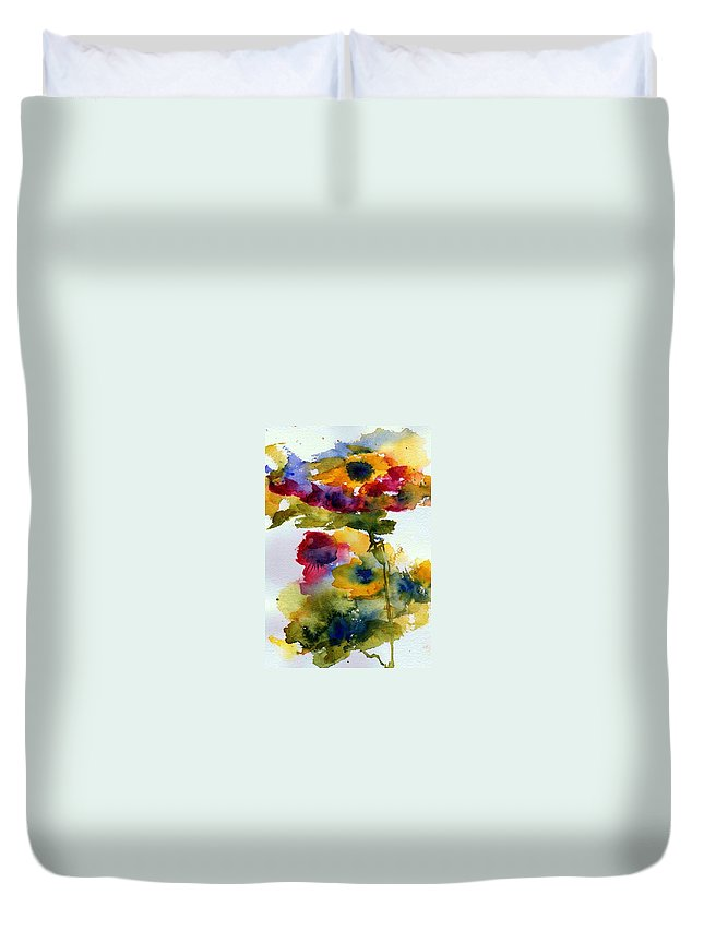 Flpwers Duvet Cover featuring the painting Floral Fancy by Anne Duke