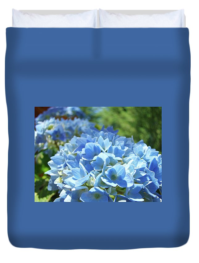 Flowers Duvet Cover featuring the photograph Floral Fine Art Blue Hydrangeas Baslee Troutman by Baslee Troutman