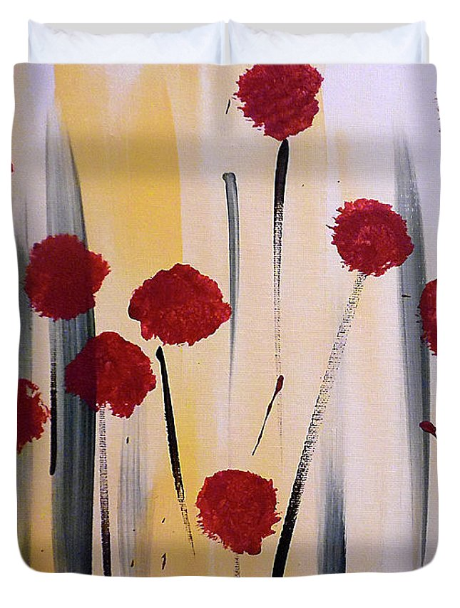 Abstract Red Flowers Duvet Cover featuring the painting Floral Fireworks by Jilian Cramb - AMothersFineArt