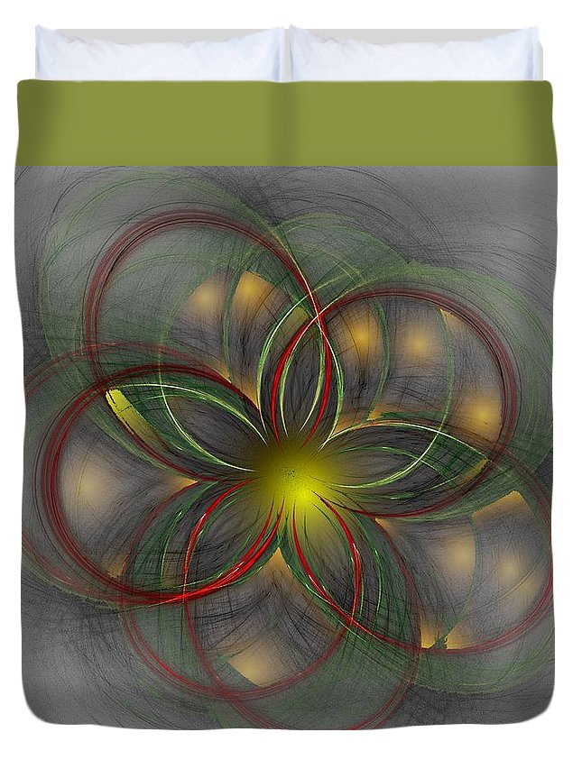 Abstract Digital Painting Duvet Cover featuring the digital art Floral Fractal 11-24-09 by David Lane