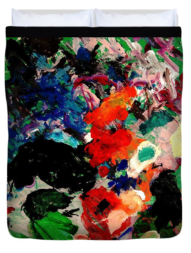 Abstract Duvet Cover featuring the painting Floral Garden by Natalie Holland