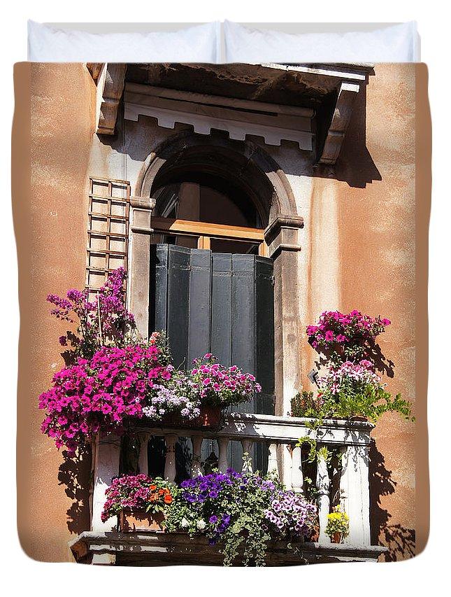 Window Duvet Cover featuring the photograph Floral Garden by Ron Koivisto