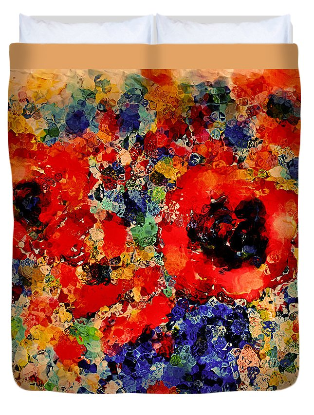 Red Flowers Duvet Cover featuring the mixed media Floral Happiness by Natalie Holland