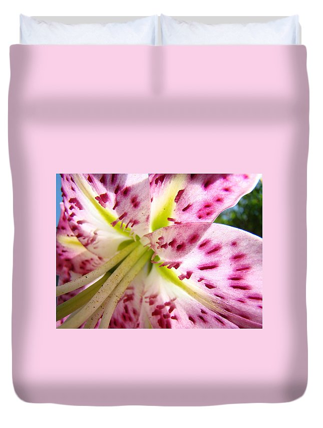 Lilies Duvet Cover featuring the photograph Floral Lily Flower Artwork Pink Calla Lilies Baslee Troutman by Baslee Troutman