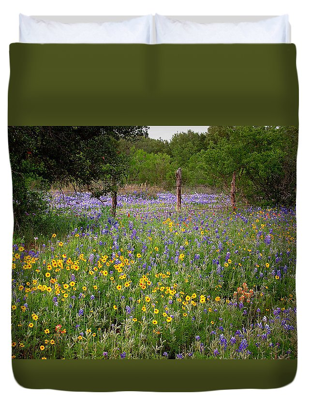 Landscape Duvet Cover featuring the photograph Floral Pasture No. 2 by Jon Holiday