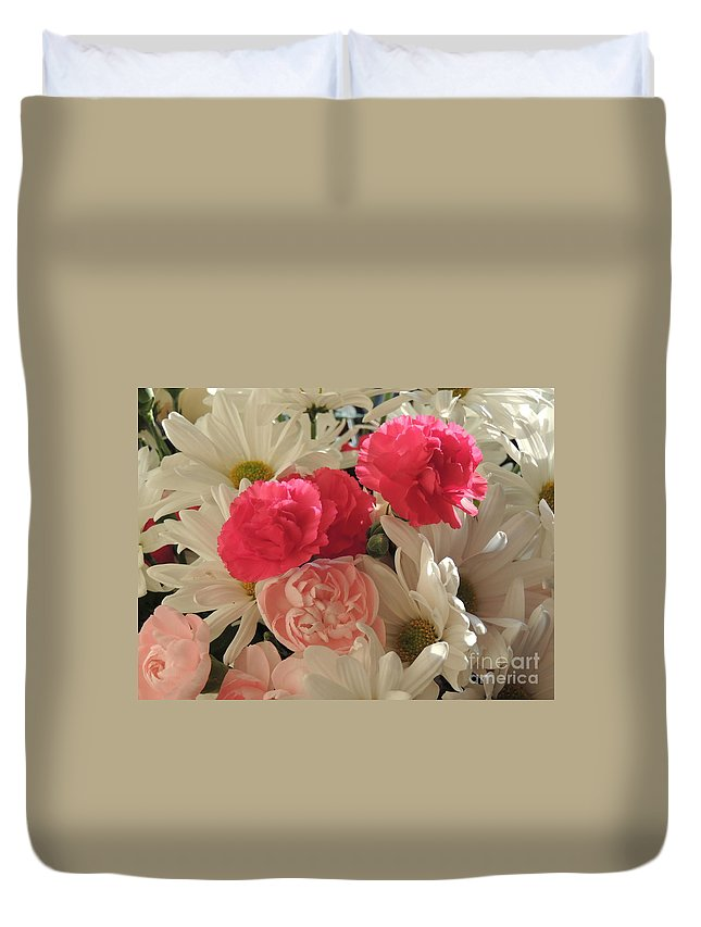 White Daisies Duvet Cover featuring the photograph Floral Smiles by Traci Hallstrom