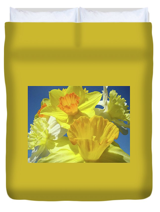 Spring Duvet Cover featuring the photograph Floral Spring Garden Art Prints Yellow Daffodils Flowers Baslee Troutman by Baslee Troutman