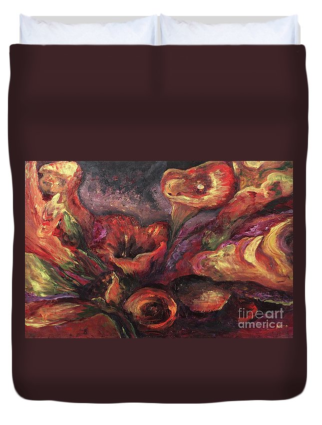 Calla Lilies Duvet Cover featuring the painting Floral Sun Worship by Nadine Rippelmeyer