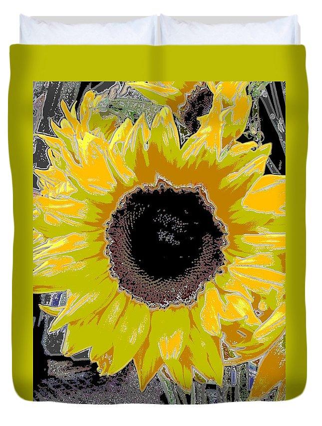 Sunflower Duvet Cover featuring the digital art Floral Sunbeam by Tim Allen