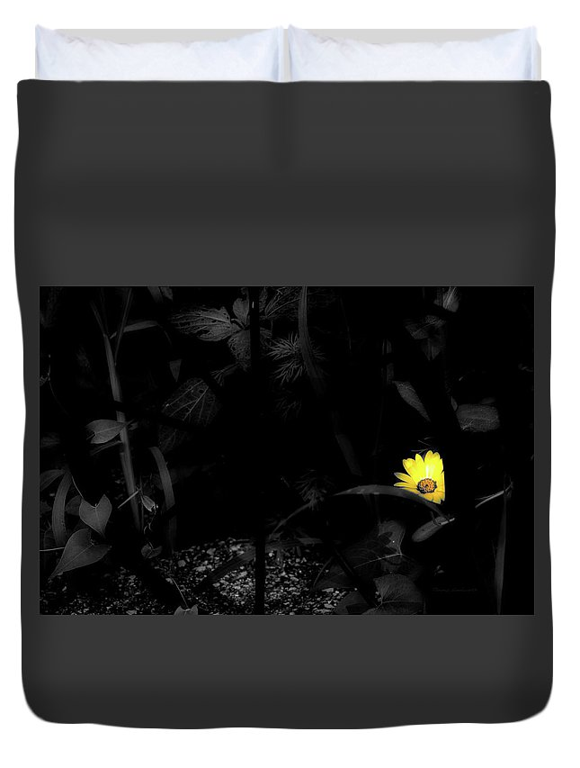 Flower Duvet Cover featuring the photograph Floral Yellow Peek A Boo Sc by Thomas Woolworth