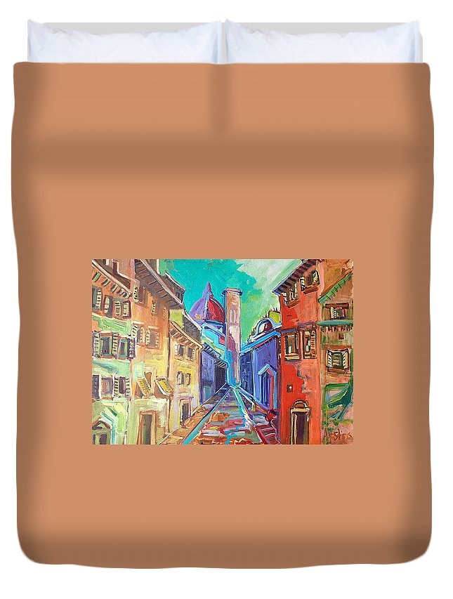 City Duvet Cover featuring the painting Florence by Kurt Hausmann