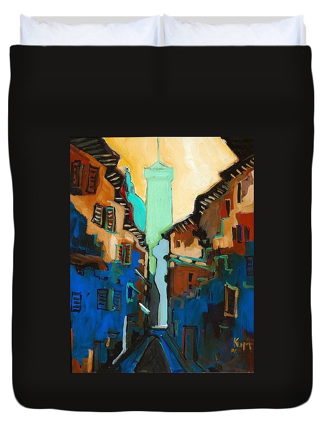 Florence Duvet Cover featuring the painting Florence Street Study by Kurt Hausmann