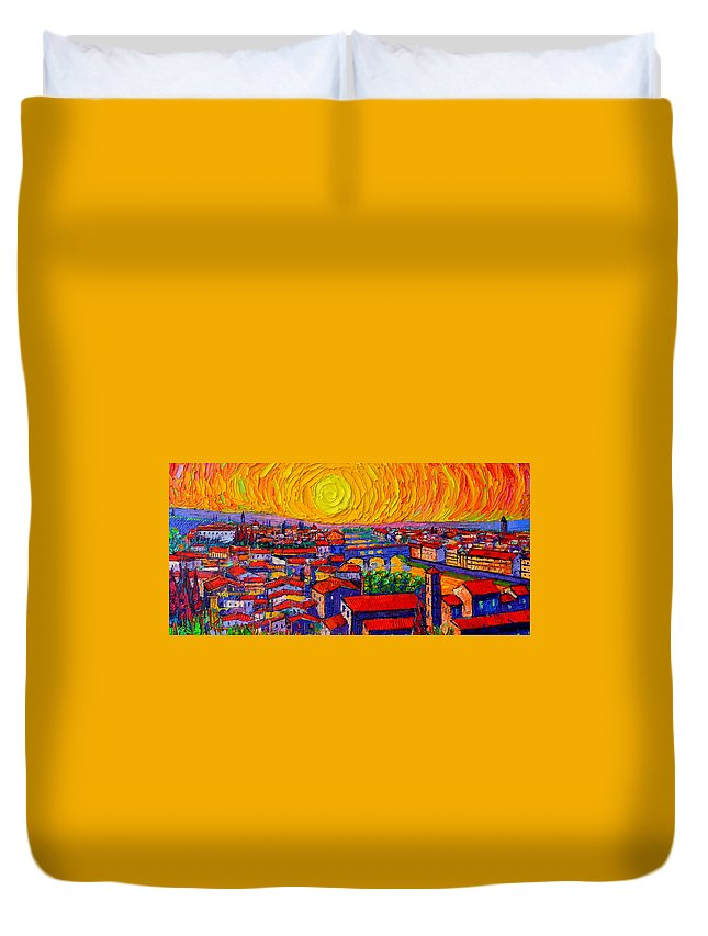 Florence Duvet Cover featuring the painting Florence Sunset 12 by Ana Maria Edulescu
