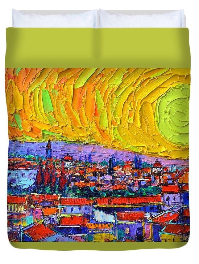 Florence Duvet Cover featuring the painting Florence Sunset 5 Modern Impressionist Abstract City Impasto Knife Oil Painting Ana Maria Edulescu by Ana Maria Edulescu