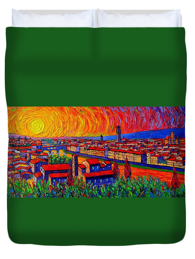 Florence Duvet Cover featuring the painting Florence Sunset 9 Modern Impressionist Abstract City Impasto Knife Oil Painting Ana Maria Edulescu by Ana Maria Edulescu