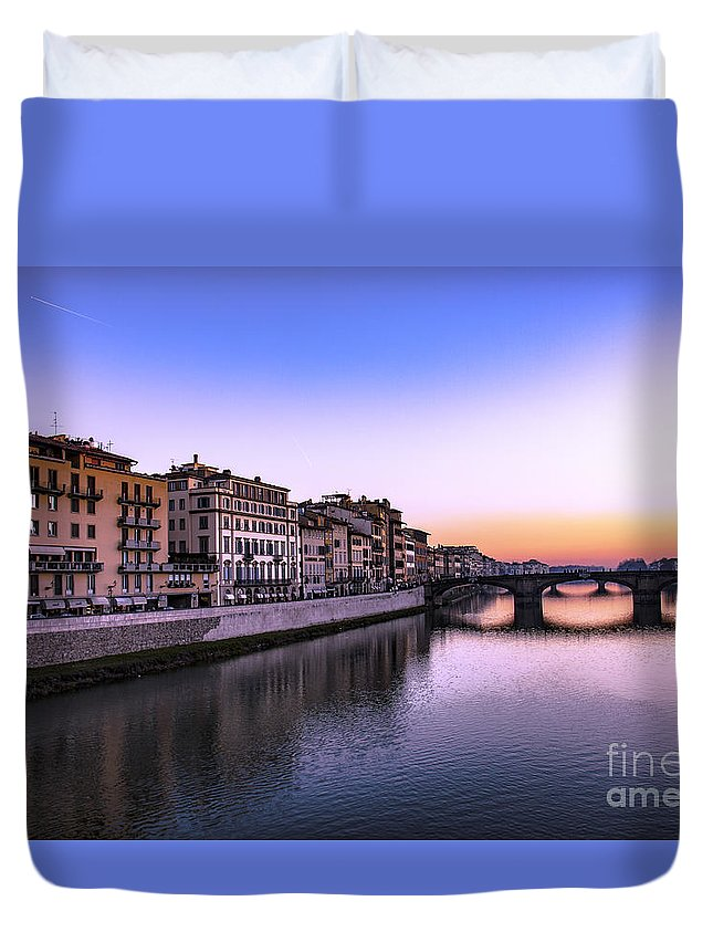 Landmark Duvet Cover featuring the photograph Florence Or Firenze, Ponte Santa Trinita Medieval Bridge Landmark On Arno River And A Boat, Sunset L by Svetlana Batalina