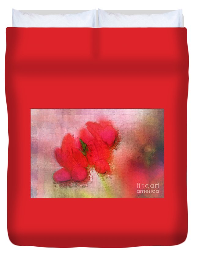 Floral Duvet Cover featuring the digital art Florentina - J38 by Variance Collections