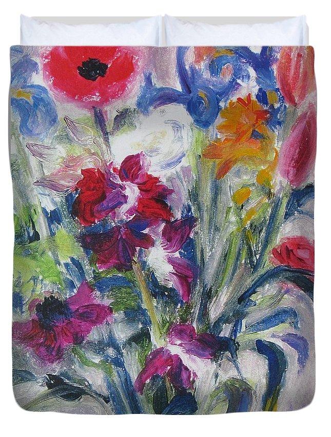 Bouquet Duvet Cover featuring the painting Floribunda Bouquet by Lynne Schulte