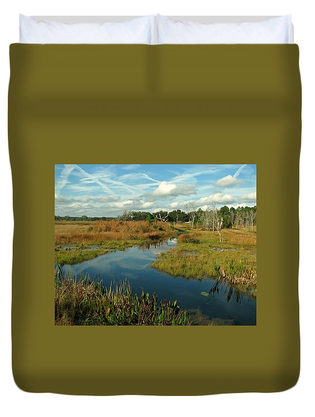 Nature Duvet Cover featuring the photograph Florida Fall by Peg Urban