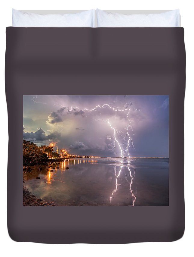 Lightning Duvet Cover featuring the photograph Florida Lightning by Justin Battles