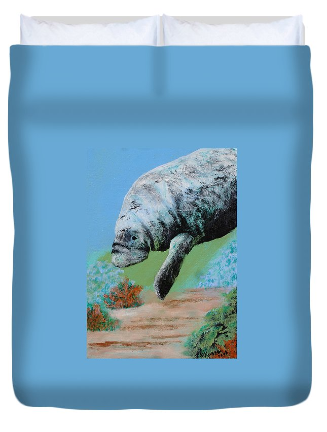 Florida Duvet Cover featuring the painting Florida Manatee by Susan Kubes