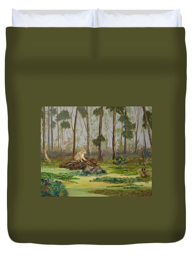 Florida Duvet Cover featuring the painting Florida Panther by Susan Kubes