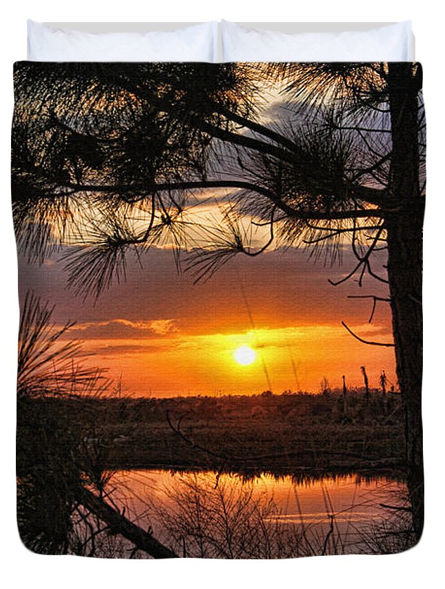 Tropical Sunset Duvet Cover featuring the photograph Florida Pine Sunset by HH Photography of Florida