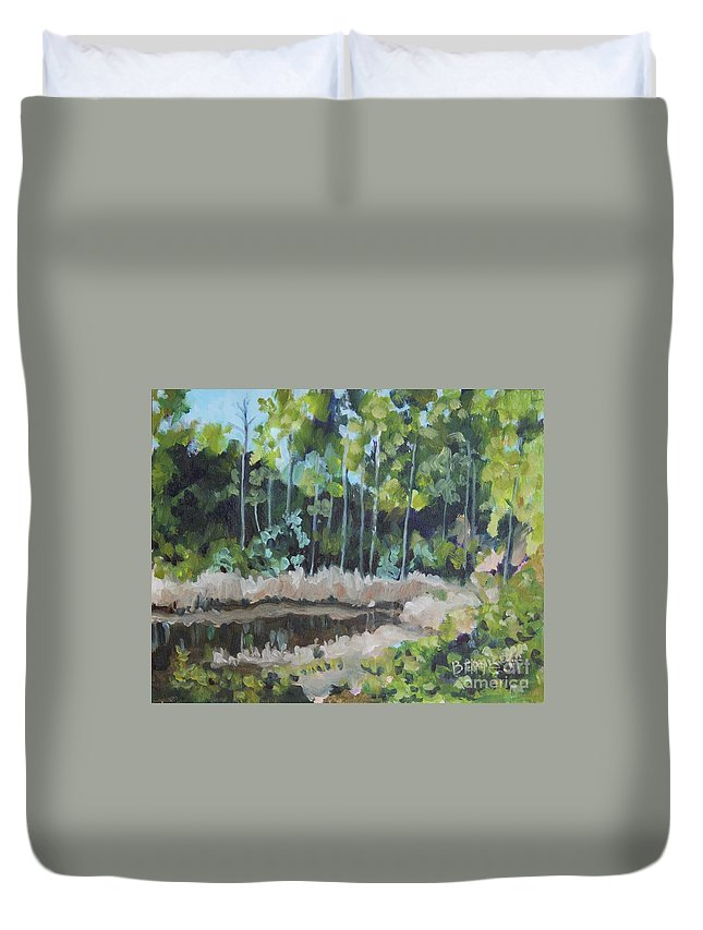 Landscape Duvet Cover featuring the painting Florida Reflections by Jan Bennicoff