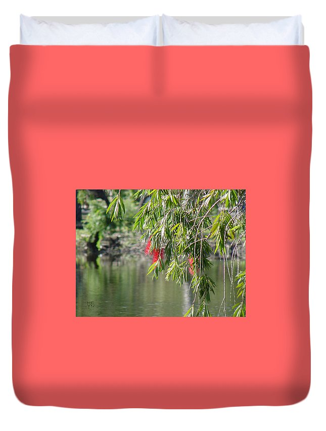 Green Duvet Cover featuring the photograph Florida Reflections by Shirley Heyn