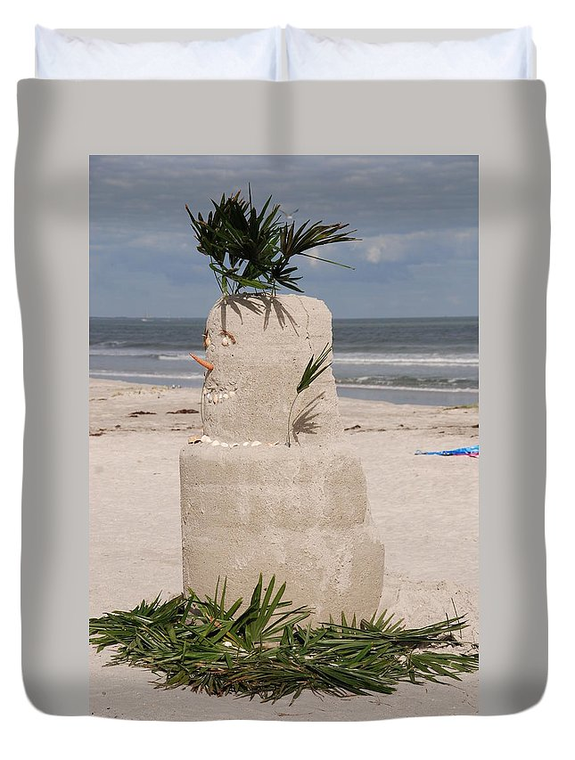 Sandman Duvet Cover featuring the photograph Florida Snow Man by Susanne Van Hulst