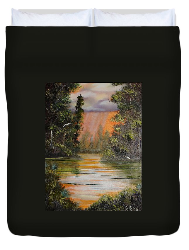 Landscape Duvet Cover featuring the painting Florida Thunderstorm by Susan Kubes