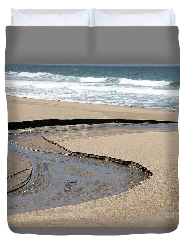 black And White Duvet Cover featuring the photograph Flow - Scott Creek by Amanda Barcon