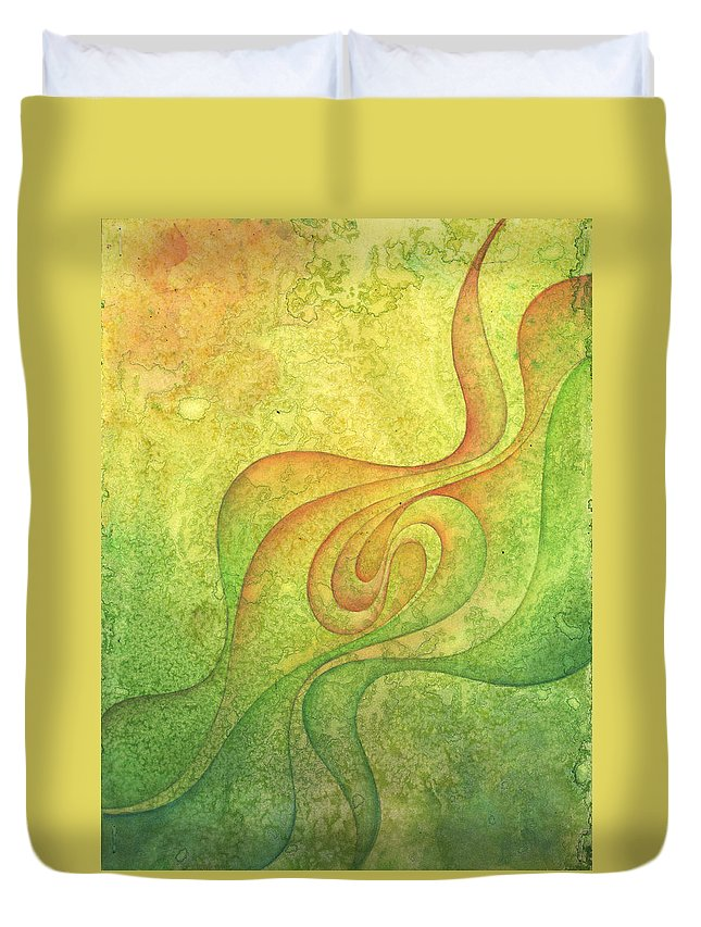 Water Duvet Cover featuring the painting Flow #9 by Ellen Starr